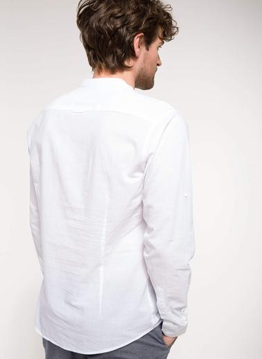 DeFacto Kol Katlamalı Modern Fit Gömlek Beyaz